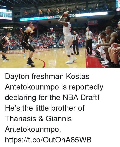 Memes, Nba, and Nba Draft: Dayton freshman Kostas Antetokounmpo is reportedly declaring for the NBA Draft!   He's the little brother of Thanasis & Giannis Antetokounmpo. https://t.co/OutOhA85WB