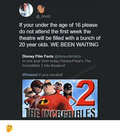 Disney, Facts, and Memes: @_dbell2  If your under the age of 16 please  do not attend the first week the  theatre will be filled with a bunch of  20 year olds. WE BEEN WAITING  Disney Film Facts @disneyfilmfacts  In one year from today Disney Pixar's The  Incredibles 2 hits theaters!  #Retweet if your excited! 🤔