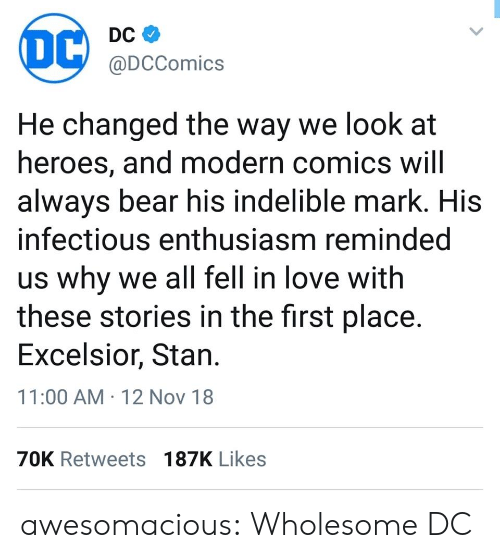 indelible: DC  @DCComics  He changed the way we look at  heroes, and modern comics will  alwavs bear his indelible mark. HiS  infectious enthusiasm reminded  us why we all fell in love with  these stories in the first place.  Excelsior, Stan  11:00 AM 12 Nov 18  70K Retweets 187K Likes awesomacious:  Wholesome DC