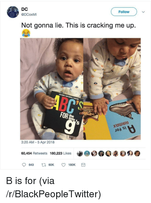Blackpeopletwitter, Apr, and Via: DC  @DCoxMI  Follow  Not gonna lie. This is cracking me up.  ムへ  VOL 1  」04 s!  3:20 AM 5 Apr 2018  60,454 Retweets 180,223 Likes de  @@嚷0㈱ B is for (via /r/BlackPeopleTwitter)