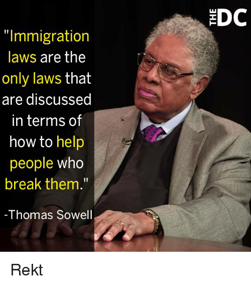 "Memes, Break, and Help: DC  ""Immigration  laws are the  only laws that  are discussed  in terms of  how to help  people who  break them.""  -Thomas Sowel Rekt"