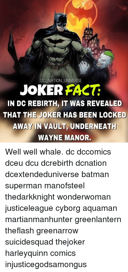 Supermane: DC NATION UNIVERSE  JOKER FAC  IN DC REBIRTH, IT WAS REVEALED  THAT THE JOKER HAS BEEN LOCKED  AWAY IN VAULT, UNDERNEAT  WAYNE MANOR. Well well whale. dc dccomics dceu dcu dcrebirth dcnation dcextendeduniverse batman superman manofsteel thedarkknight wonderwoman justiceleague cyborg aquaman martianmanhunter greenlantern theflash greenarrow suicidesquad thejoker harleyquinn comics injusticegodsamongus