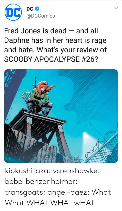 daphne: @DCComics  Fred Jones is dead -and all  Daphne has in her heart is rage  and hate. What's your review of  SCOOBY APOCALYPSE kiokushitaka: valenshawke:  bebe-benzenheimer:  transgoats:  angel-baez:  What  What  WHAT   WHAT  wHAT