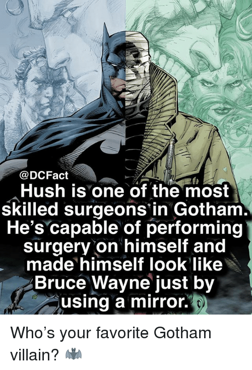 Memes, Gotham, and Mirror: @DCFact  Hush is one of the most  skilled surgeons in Gotham.  He's capable of performing  surgery on himself and  made himself look like  Bruce Wayne just by  using a mirror. Who's your favorite Gotham villain? 🦇