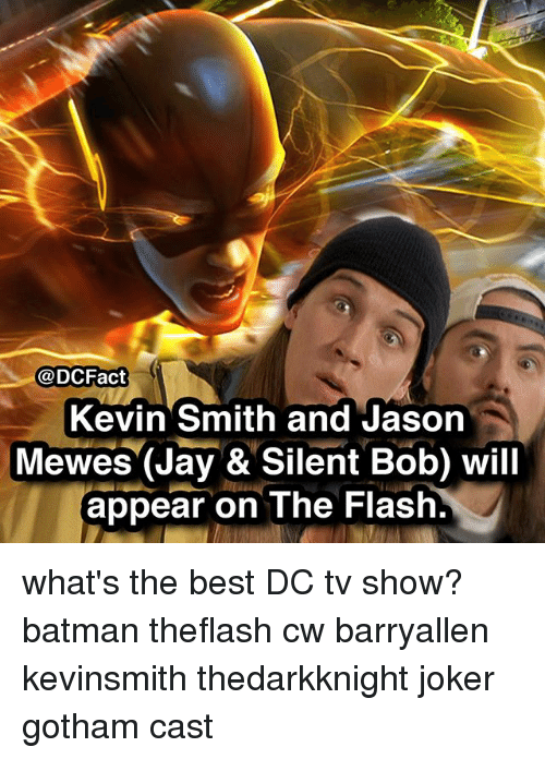 Batman, Jay, and Joker: @DCFact  Kevin Smith and Jason  Mewes (Jay &Silent Bob) will  appear on The Flash. what's the best DC tv show? batman theflash cw barryallen kevinsmith thedarkknight joker gotham cast