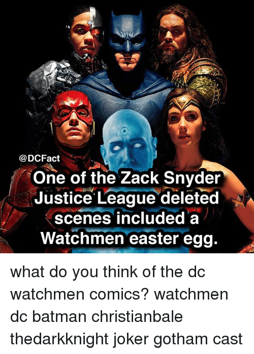 Batman, Easter, and Joker: @DCFact  One of the Zack Snyder  Justice League deleted  scenes included a  Watchmen easter egg what do you think of the dc watchmen comics? watchmen dc batman christianbale thedarkknight joker gotham cast