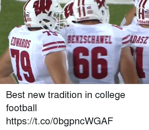 College, College Football, and Football: ddel  ell Best new tradition in college football  https://t.co/0bgpncWGAF