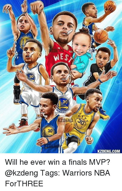 Finals, Memes, and Nba: DE  30  30  DEN  30  KZDENG.COM Will he ever win a finals MVP? @kzdeng Tags: Warriors NBA ForTHREE