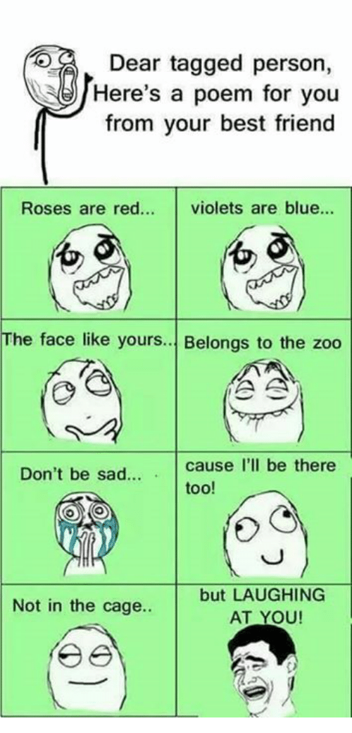 Best Friend, Memes, and Best: DE  Dear tagged person,  Here's a poem for you  from your best friend  Roses are red... violets are blue...  0  01  The face like yours. Belongs to the zoo  Don't be sad  cause I'll be there  too!  but LAUGHING  AT YOU  Not in the cage..