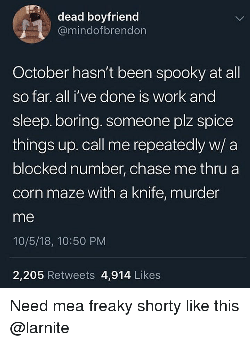 Work, Chase, and Boyfriend: dead boyfriend  @mindofbrendon  October hasn't been spooky at all  so far. all i've done is work and  sleep.boring. someone plz spice  things up. call me repeatedly w/ a  blocked number, chase me thru a  corn maze with a knife, murder  me  10/5/18, 10:50 PM  2,205 Retweets 4,914 Likes Need mea freaky shorty like this @larnite