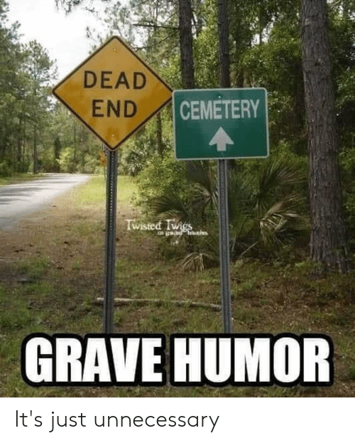 Twies: DEAD  CEMETERY  END  Wisted Twies  GRAVE HUMOR It's just unnecessary