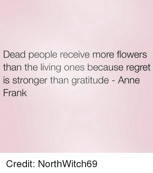 Memes, Regret, and Anne Frank: Dead people receive more flowers  than the living ones because regret  is stronger than gratitude Anne  Frank Credit: NorthWitch69