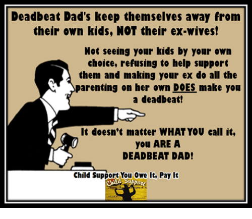 Child Support, Memes, and 🤖: Deadbeat Dad's keep themselves away from  their own kids, NOT their ex-wives!  Not seeing your kids by your own  choice, refusing to help support  them and making your ex do all the  parenting on her own DOES make you  a deadbeat!  It doesn't matter WHATYOU call it,  you ARE A  DEADBEAT DAD!  Child Support You Owe It, Pay It