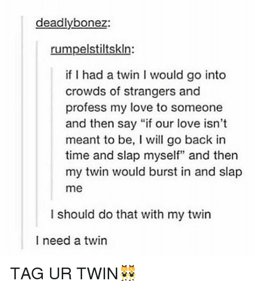 """Love, Tumblr, and Time: deadly bonez:  rumpelstiltskln  if I had a twin I would go into  crowds of strangers and  profess my love to someone  and then say """"if our love isn't  meant to be, I will go back in  time and slap myself"""" and then  my twin would burst in and slap  me  I should do that with my twin  I need a twin TAG UR TWIN👯"""