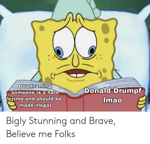 Bigly: Deadnaming  Donald Drumpf  someone is a hate  crime and should be  made illegal  Imao Bigly Stunning and Brave, Believe me Folks