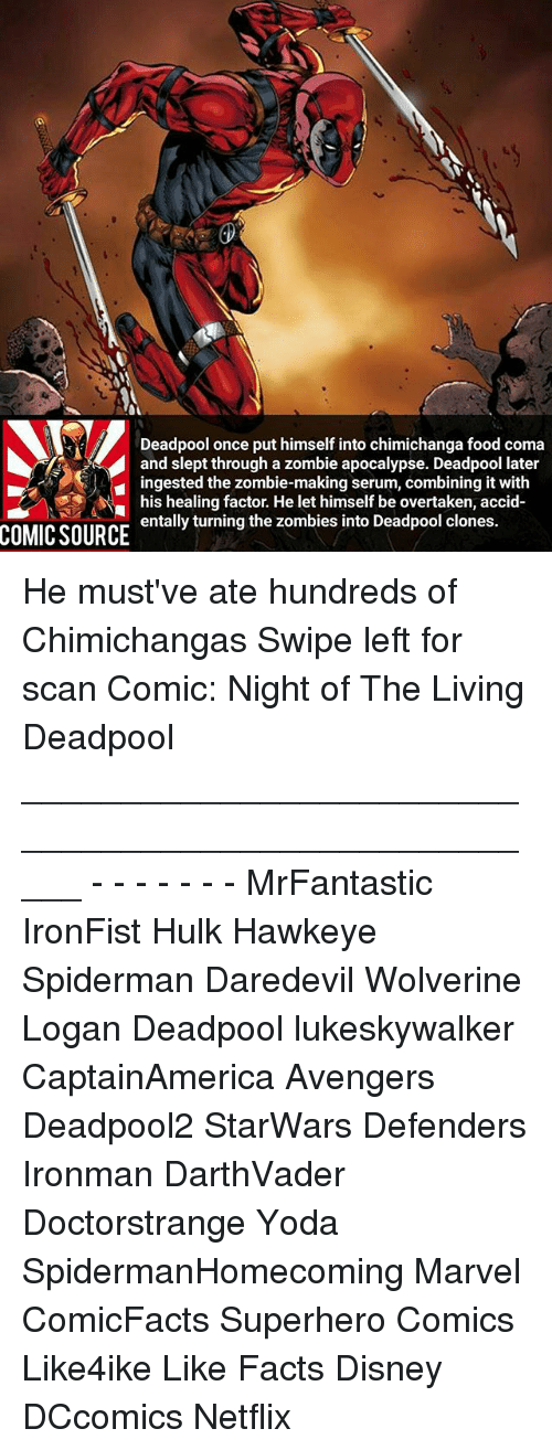 Disney, Facts, and Food: Deadpool once put himself into chimichanga food coma  and slept through a zombie apocalypse. Deadpool later  ingested the zombie-making serum, combining it with  his healing factor. He let himself be overtaken, accid  entally turning the zombies into Deadpool clones.  COMIC SOURCE He must've ate hundreds of Chimichangas Swipe left for scan Comic: Night of The Living Deadpool _____________________________________________________ - - - - - - - MrFantastic IronFist Hulk Hawkeye Spiderman Daredevil Wolverine Logan Deadpool lukeskywalker CaptainAmerica Avengers Deadpool2 StarWars Defenders Ironman DarthVader Doctorstrange Yoda SpidermanHomecoming Marvel ComicFacts Superhero Comics Like4ike Like Facts Disney DCcomics Netflix