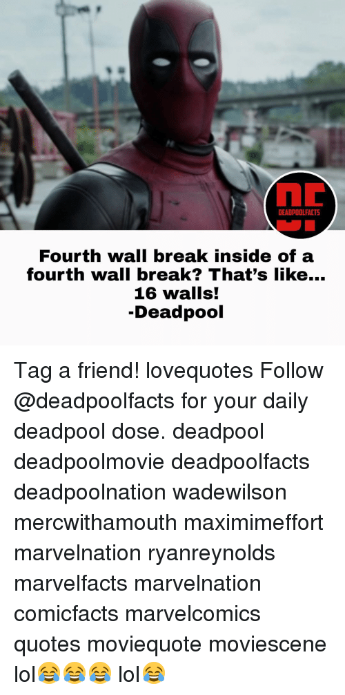 fourth wall: DEADPOOLFACTS  Fourth wall break inside of a  fourth wall break? That's like...  16 walls!  -Deadpool Tag a friend! lovequotes Follow @deadpoolfacts for your daily deadpool dose. deadpool deadpoolmovie deadpoolfacts deadpoolnation wadewilson mercwithamouth maximimeffort marvelnation ryanreynolds marvelfacts marvelnation comicfacts marvelcomics quotes moviequote moviescene lol😂😂😂 lol😂