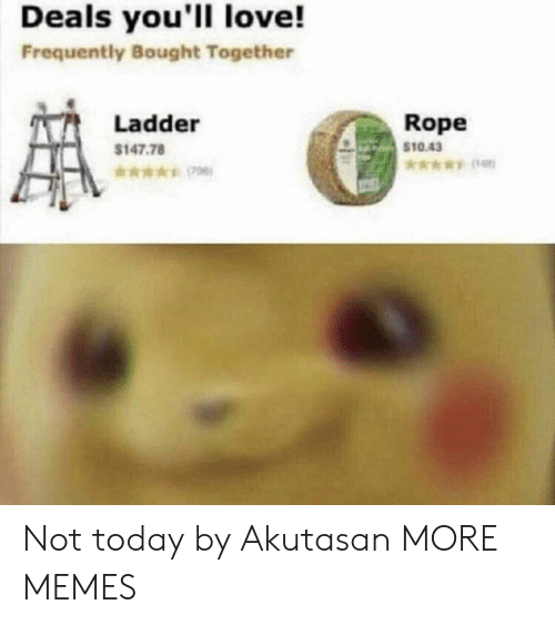 deals: Deals you'll love!  Frequently Bought Together  Rope  $10.43  Ladder  $147.78  *006) Not today by Akutasan MORE MEMES