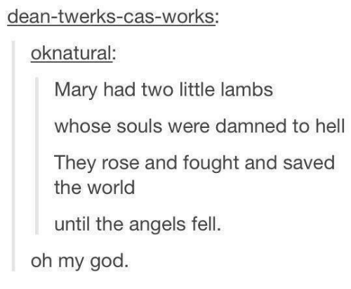 Dank, Oh My God, and Twerk: dean-twerks-cas-works:  ok natural  Mary had two little lambs  whose souls were damned to hell  They rose and fought and saved  the world  until the angels fell.  oh my god.