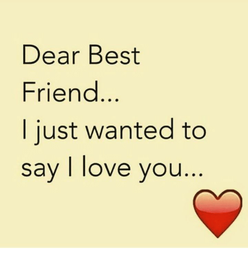 Best Friend, Love, and Memes: Dear Best  Friend  I just wanted to  say I love you