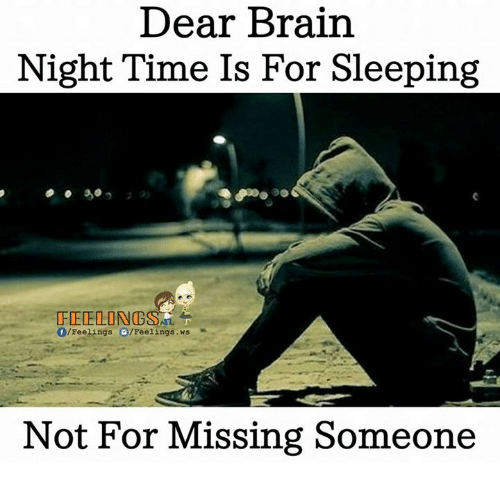 Memes, Brain, and Time: Dear Brain  Night Time Is For Sleeping  FEDE LONG  Feelings G /Feelings .ws  Not For Missing Someone