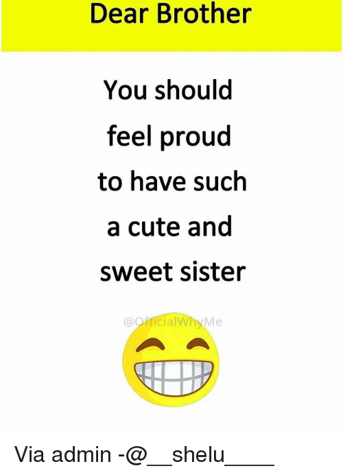 Cute, Memes, and Proud: Dear Brother  You should  feel proud  to have such  a cute and  sweet sister  @oificialWhy Me Via admin -@__shelu____