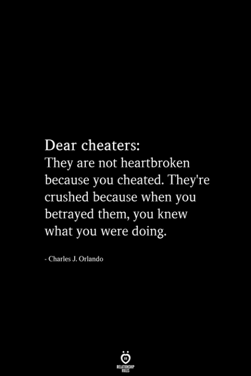 cheaters: Dear cheaters:  They are not heartbroken  because you cheated. They're  crushed because when you  betrayed them, you knew  what you were doing.  - Charles J. Orlando  RELATIONSHIP  ES