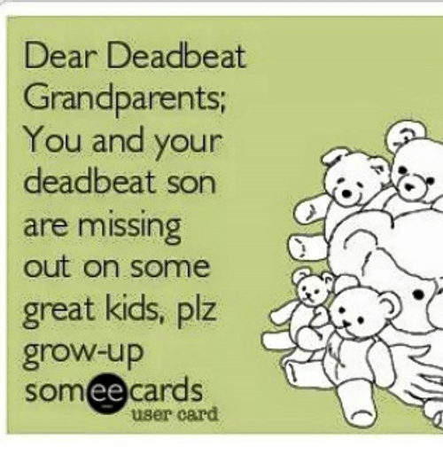 Memes, Kids, and Someecards: Dear Deadbeat  Grandparents  You and your  deadbeat son  are missing  out on some  great kids, plz  grow-up  someecards  user card