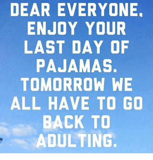 Memes, Tomorrow, and Back: DEAR EVERYONE.  ENJOY YOUR  LAST DAY OF  PAJAMAS.  TOMORROW WE  ALL HAVE TO GO  BACK TO  ADULTING