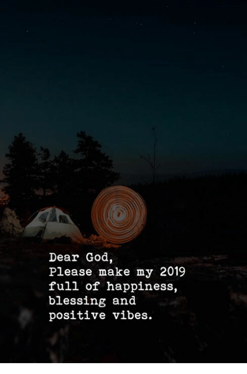 positive vibes: Dear God  Please make my 2019  full of happiness,  blessing and  positive vibes.