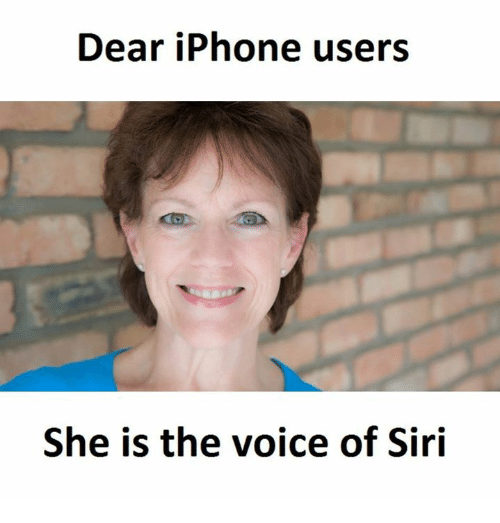 Iphone, Memes, and Siri: Dear iPhone users  She is the voice of Siri