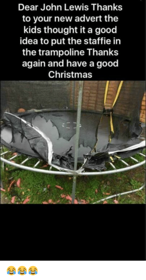 Adverted: Dear John Lewis Thanks  to your new advert the  kids thought it a good  idea to put the staffie in  the trampoline Thanks  again and have a good  Christmas 😂😂😂