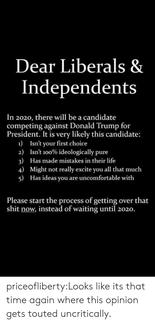 Excite: Dear Liberals &  Independents  In 2020, there will be a candidate  competing against Donald Trump for  President. It is very likely this candidate:  1  Isn't your first choice  2)  Isnt 100% ideologically pure  3)  4)  Has made mistakes in their life  Might not really excite you all that much  5)  Has ideas you are uncomfortable with  Please start the process of getting over that  shit now, instead of waiting until 2020. priceofliberty:Looks like its that time again where this opinion gets touted uncritically.