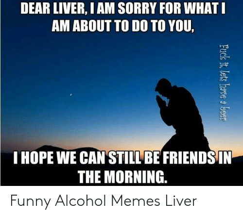 Funny Alcohol: DEAR LIVER, I AM SORRY FOR WHAT  AM ABOUT TO DO TO YOU,  ng  IHOPE WE CAN STILL BE FRIENDS IN  THE MORNING. Funny Alcohol Memes Liver