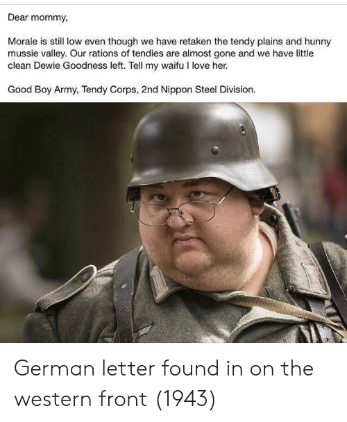 Nippon Steel: Dear mommy,  Morale is still low even though we have retaken the tendy plains and hunny  mussie valley. Our rations of tendies are almost gone and we have little  clean Dewie Goodness left. Tell my waifu I love her.  Good Boy Army, Tendy Corps, 2nd Nippon Steel Division. German letter found in on the western front (1943)