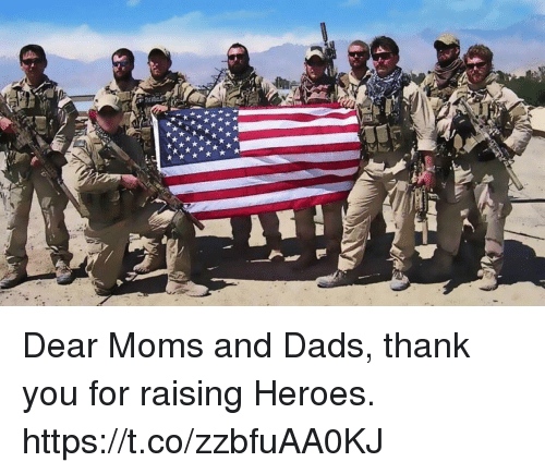 Memes, Moms, and Thank You: Dear Moms and Dads, thank you for raising Heroes. https://t.co/zzbfuAA0KJ