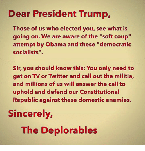 "Deplorables: Dear President Trump,  Those of us who elected you, see what is  going on. We are aware of the ""soft coup""  attempt by Obama and these ""democratic  socialists"".  Sir, you should know this: You only need to  get on TV or Twitter and call out the militia,  and millions of us will answer the call to  uphold and defend our Constitutional  Republic against these domestic enemies.  Sincerely  The Deplorables"