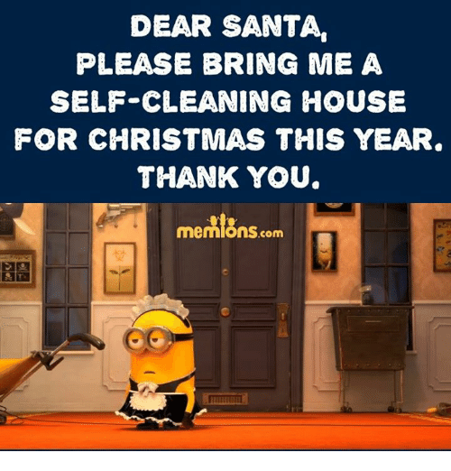 Cleaning House: DEAR SANTA,  PLEASE BRING ME A  SELF CLEANING HOUSE  FOR CHRISTMAS THIS YEAR  THANK YOU.  memlans  em