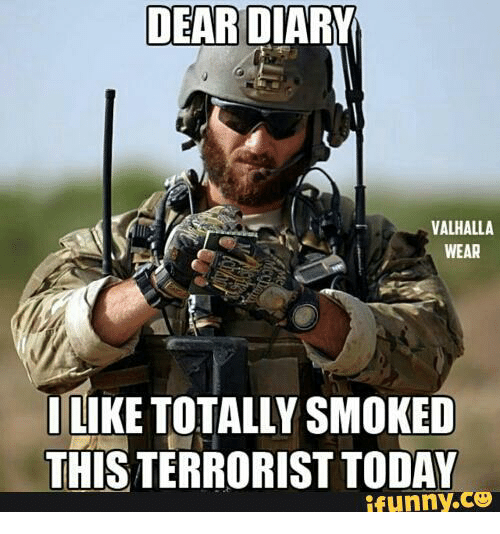 Tacticool Operator: DEAR  VALHALLA  WEAR  ILIKE TOTALLY SMOKED  THIS TERRORISTTODAY  ifunny.co
