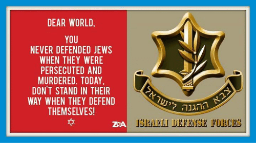 Memes, Today, and World: DEAR WORLD  YOU  NEVER DEFENDED JEWS  WHEN THEY WERE  PERSECUTED AND  MURDERED. TODAY  DON'T STAND IN THEIR  WAY WHEN THEY DEFEND  THEMSELVES!  本  ההגנה  IS BAK LI DEE RİISE PURCES