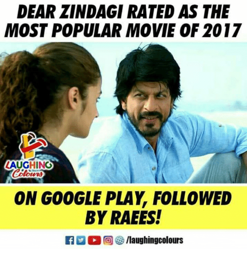 Google, Google Play, and Movie: DEAR ZINDAGI RATED AS THE  MOST POPULAR MOVIE OF 2017  AUGHING  ON GOOGLE PLAY, FOLLOWED  BY RAEES!  回參/laughingcolours