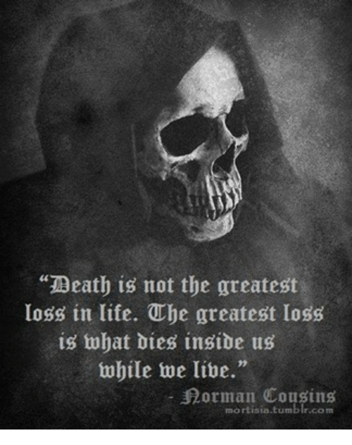 """ube: """"Death is not the greatest  loss in life. Ube greatest loss  is what Dies insibe us  while we live.""""  orman Cousins  mort isia tumb"""