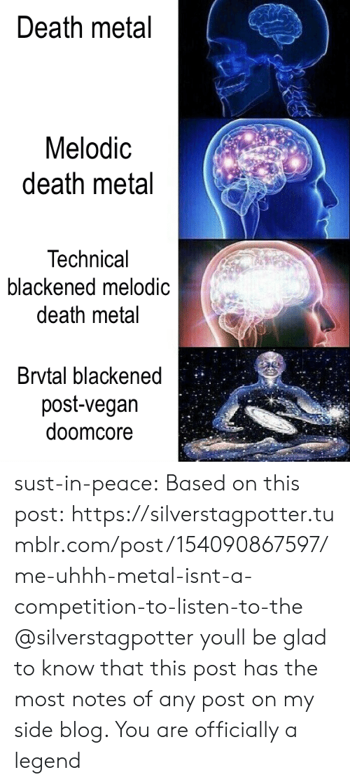 Uhhh: Death metal  Melodic  death metal  Technical  blackened melodic  death metal  Brvtal blackened  post-vegan  doomcore sust-in-peace:  Based on this post:https://silverstagpotter.tumblr.com/post/154090867597/me-uhhh-metal-isnt-a-competition-to-listen-to-the  @silverstagpotter youll be glad to know that this post has the most notes of any post on my side blog. You are officially a legend