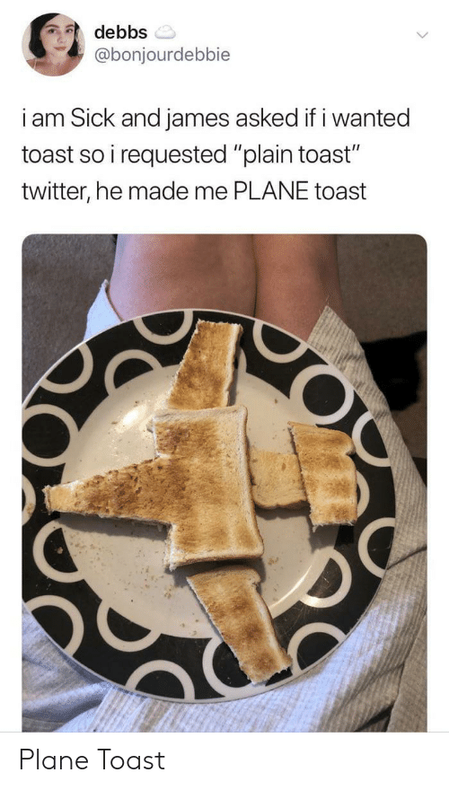 "plain: debbs  @bonjourdebbie  i am Sick and james asked if i wanted  toast so i requested ""plain toast""  twitter, he made me PLANE toast  O Plane Toast"