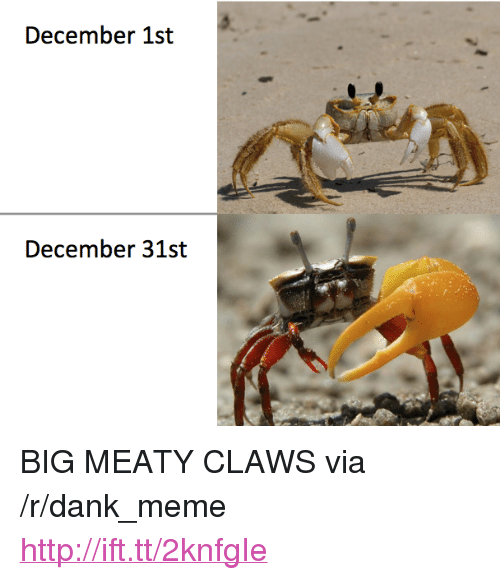 "Dank, Meme, and Http: December 1st  December 31st <p>BIG MEATY CLAWS via /r/dank_meme <a href=""http://ift.tt/2knfgIe"">http://ift.tt/2knfgIe</a></p>"