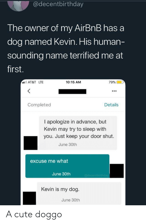 30Th: @decentbirthday  The owner of my AirBnB has a  dog named Kevin. His human-  sounding name terrified me at  first.  AT&T LTE  10:15 AM  79%  Completed  Details  I apologize in advance, but  Kevin may try to sleep with  you. Just keep your door shut.  June 30th  excuse me what  June 30th  @decentbirthday  Kevin is my dog.  June 30th A cute doggo