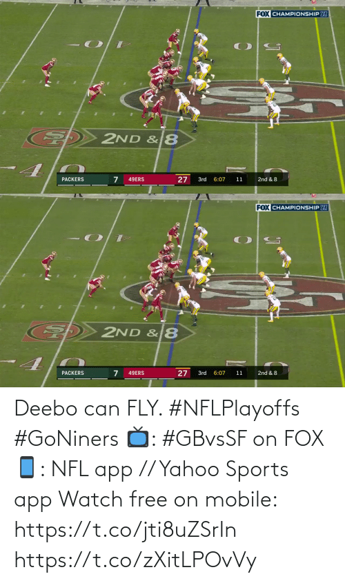 Mobile: Deebo can FLY. #NFLPlayoffs #GoNiners  📺: #GBvsSF on FOX 📱: NFL app // Yahoo Sports app Watch free on mobile: https://t.co/jti8uZSrIn https://t.co/zXitLPOvVy