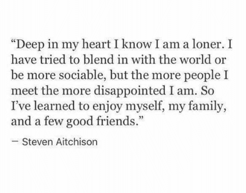 "loner: ""Deep in my heart I know I am a loner. I  have tried to blend in with the world or  be more sociable, but the more people I  meet the more disappointed I am. So  I've learned to enjoy myself, my family,  and a few good friends.""  Steven Aitchison"
