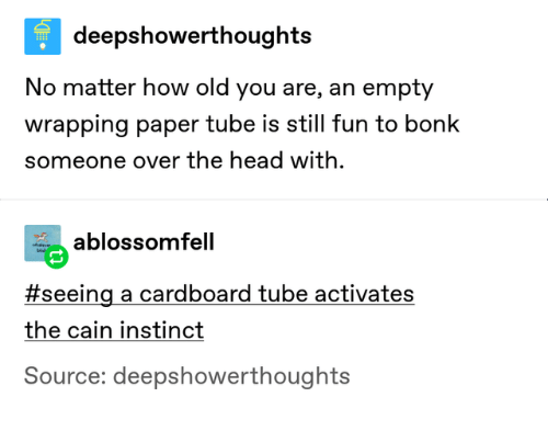 Tube: deepshowerthoughts  No matter how old you are, an empty  wrapping paper tube is still fun to bonk  someone over the head with  ablossomfell  eve  bi  #seeing a cardboard tube activates  the cain instinct  Source: deepshowerthoughts