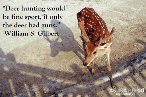 "Deer Hunting: ""Deer hunting would  be fine sport, if only  the deer had guns.""  -William S. Gilbert  ONe GreeN PlaNers  Oaegreenplanetorg"